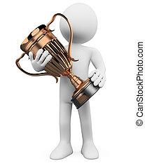 3d, hombre, con, un, bronce, trofeo, en, el, manos