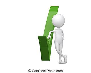 3d, hombre, con, un, verde, cheque, mark.