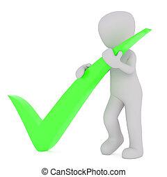 3d, hombre, con, verde, marca de verificación