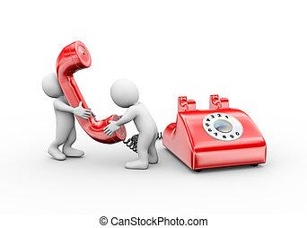 3d, hombre conversación, en, teléfono
