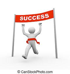 3d, hombre, cruce, éxito