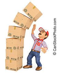 3d, hombre de entrega, con, un, pila, de, cajas, caer, en, top., trabajo, accidentes