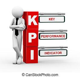 3d, hombre de negocios, con, kpi, poste indicador, ilustración
