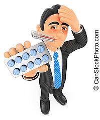3d, hombre de negocios, con, termómetro, y, tableta, pills., gripe, concepto
