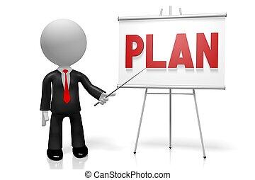 3d, hombre de negocios, plan, concepto