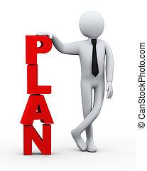 3d, hombre de negocios, plan, palabra, presentación