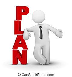 3d, hombre de negocios, presentación, palabra, plan, concepto