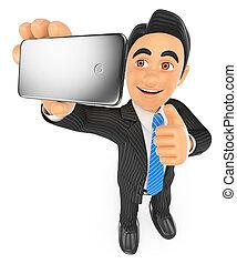 3d, hombre de negocios, toma, un, selfie, con, teléfono móvil