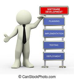 3d, hombre de negocios, y, software, prueba
