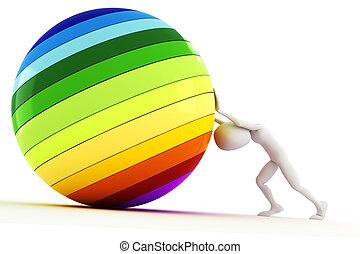 3d, hombre, empujar, un, pelota llena de color, encima de la...