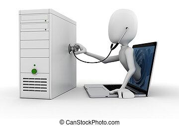 3d, hombre, en línea, apoyo, y, mantenimiento, aislado,...