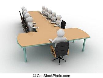 3d, hombre, en, reunión negocio