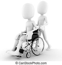 3d, hombre en un sillón de ruedas, aislado, blanco, plano de fondo