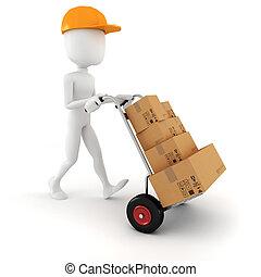 3d, hombre, entregar, algunos, cajas