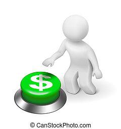 3d, hombre, es, empujar, el, dólares, símbolo, botón