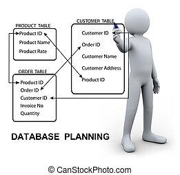 3d, hombre, escritura, base de datos, plan