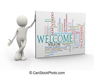 3d, hombre estar de pie, con, bienvenida, wordcloud, palabra, etiquetas