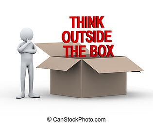 3d, hombre, exterior, caja, pensar