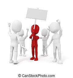 3d, hombre, -, grupo, de, protestar, gente