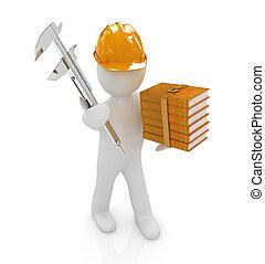 3d, hombre, ingeniero, en, sombrero duro, con, vernier,...