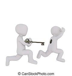 3d, hombre, llave, servicio