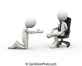 3d, hombre, mendigar, a, sentado, jefe, en, silla
