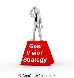 3d, hombre, meta, visión, estrategia