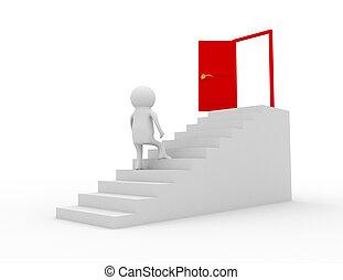 3d, hombre montañismo, en, escalera