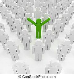 3d, hombre, multitud, empresa / negocio, organización