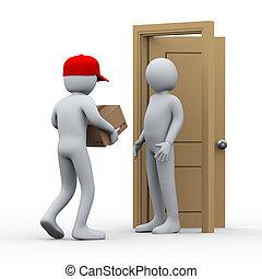 3d, hombre, paquete, entrega a domicilio
