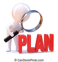 3d, hombre pequeño, estudios, el plan