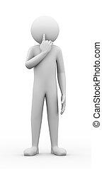 3d, hombre, silencio, gesto, postura