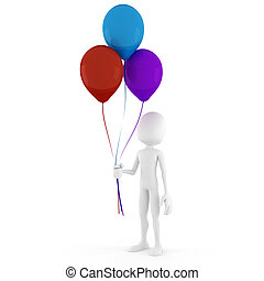 3d, hombre, tenencia, algunos, globos coloridos