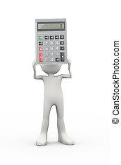 3d, hombre, tenencia, calculadora