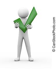 3d, hombre, tenencia, marca de verificación, ilustración