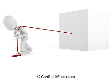 3d, hombre, tirar, un, gigante, cubo, aislado, blanco