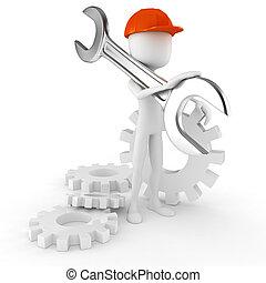 3d, hombre, trabajador, tenencia, un, grande, llave inglesa, aislado, blanco, plano de fondo