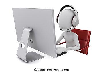 3d, hombre, trabajar en computadora