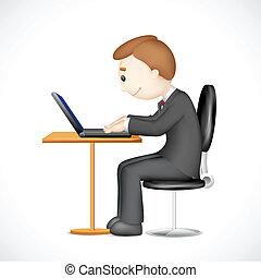 3d, hombre, trabajo encendido, computador portatil