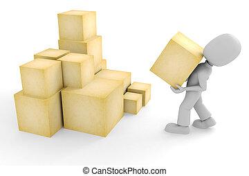 3d, hombre, y, algunos, cajas