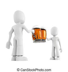 3d, hombre, y, cerveza
