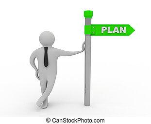 3d, hombre, y, plan, dirección