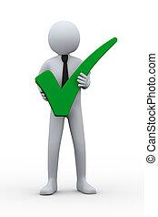 3d, hombre, y, verde, marca de verificación