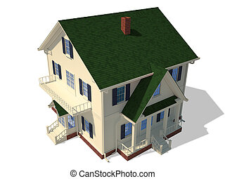 3D home exterior - Render of home exterior isolated on white