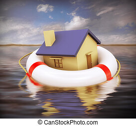 3d home on life preserver - 3d Illustration of house on...