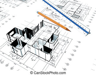 Home plot plan - 3d Home plot plan with white background
