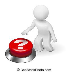 3d, homem, é, empurrar, a, marca pergunta, botão