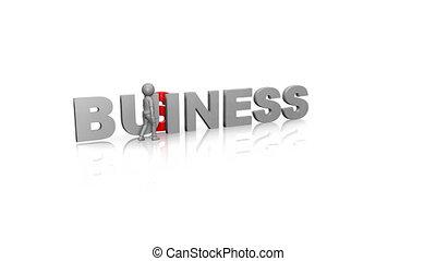 3d, homem, afixando, negócio, palavra