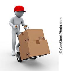 3d, homem, caminhão mão, caixas