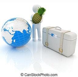3d, homem, com, abacaxi, e, traveler's, mala